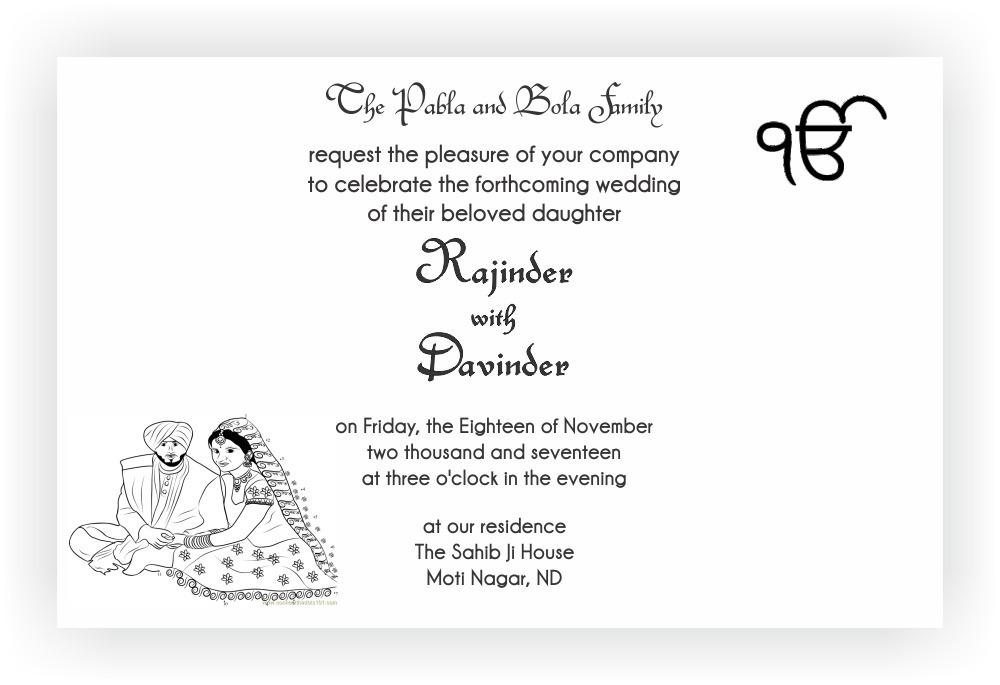 Sikh wedding invitation wordings chococraft stopboris Images