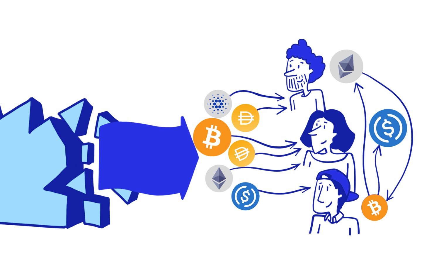 Share crypto with colleagues, contributors, friends