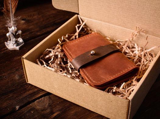 Картхолдер кожаный -TINY- мини кошелек для карт и наличности цвет Коньяк