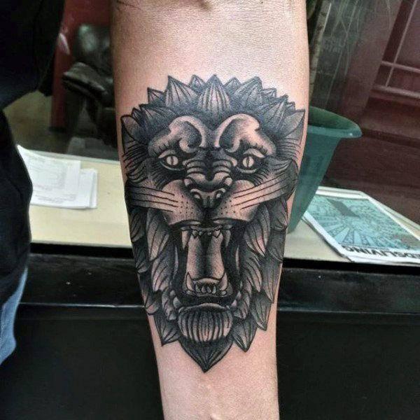 Tatouage Tete De Lion Rugissant Art
