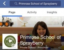 Screenshot of the Facebook page of Primrose school of Sprayberry