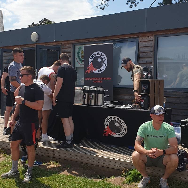 cannonball coffee at an army crossfit event