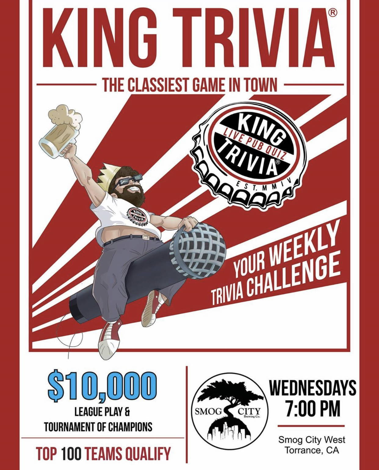 text reads, king trivia, the classiest game in town. your weekly trivia challenge. Aguy is riding a microphone with a mug of beer in hand.