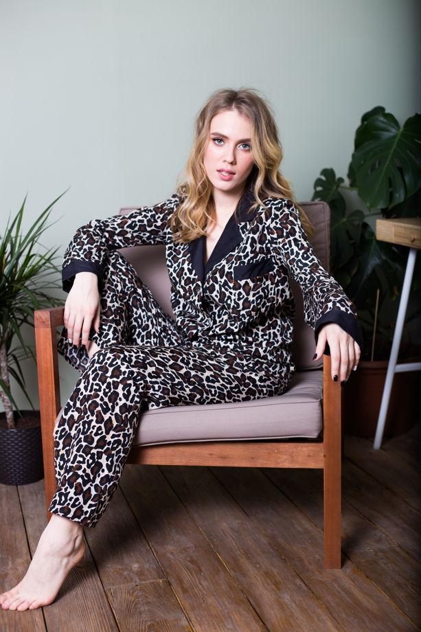 Женская пижама из шелкового батиста с анималистическим принтом леопард
