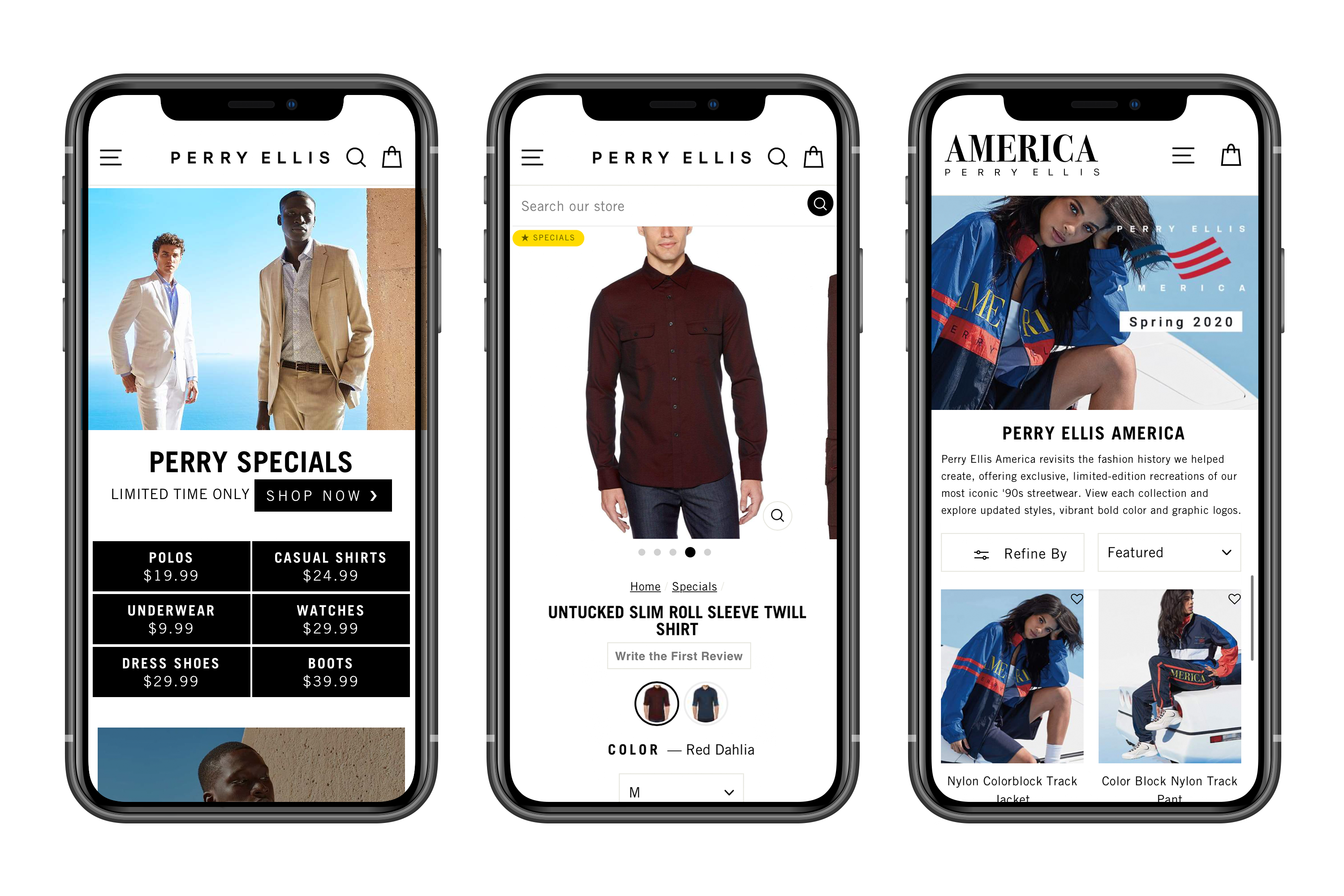 Perry Ellis website on mobile devices