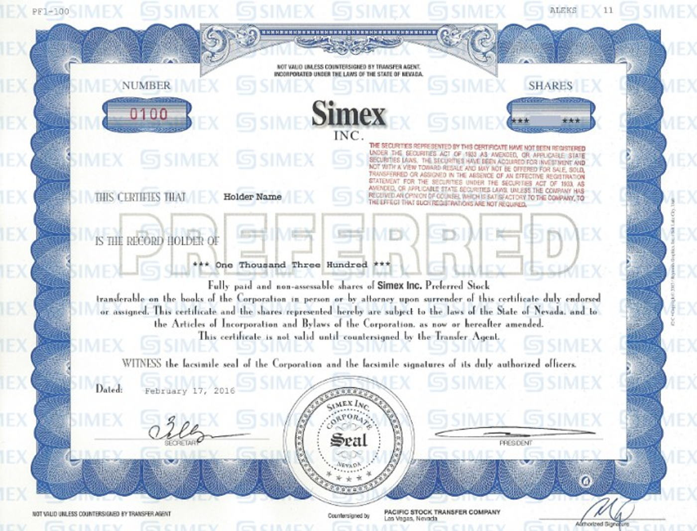 Changing of SIMEX Inc preferred shares value