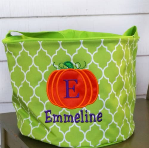 custom trick or treat tote to place at baby's bedside for NICU Halloween treats