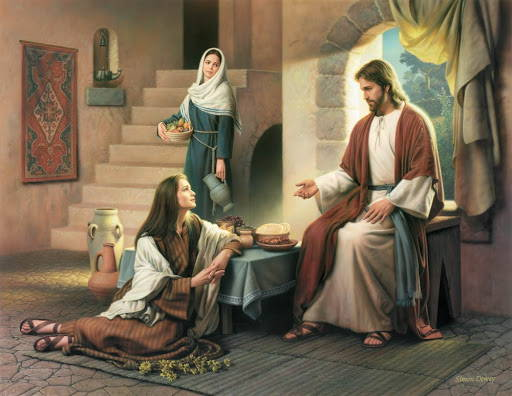Painting of Jesus teaching Mary and Martha.