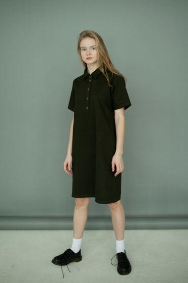 Платье - поло, темно-зеленое