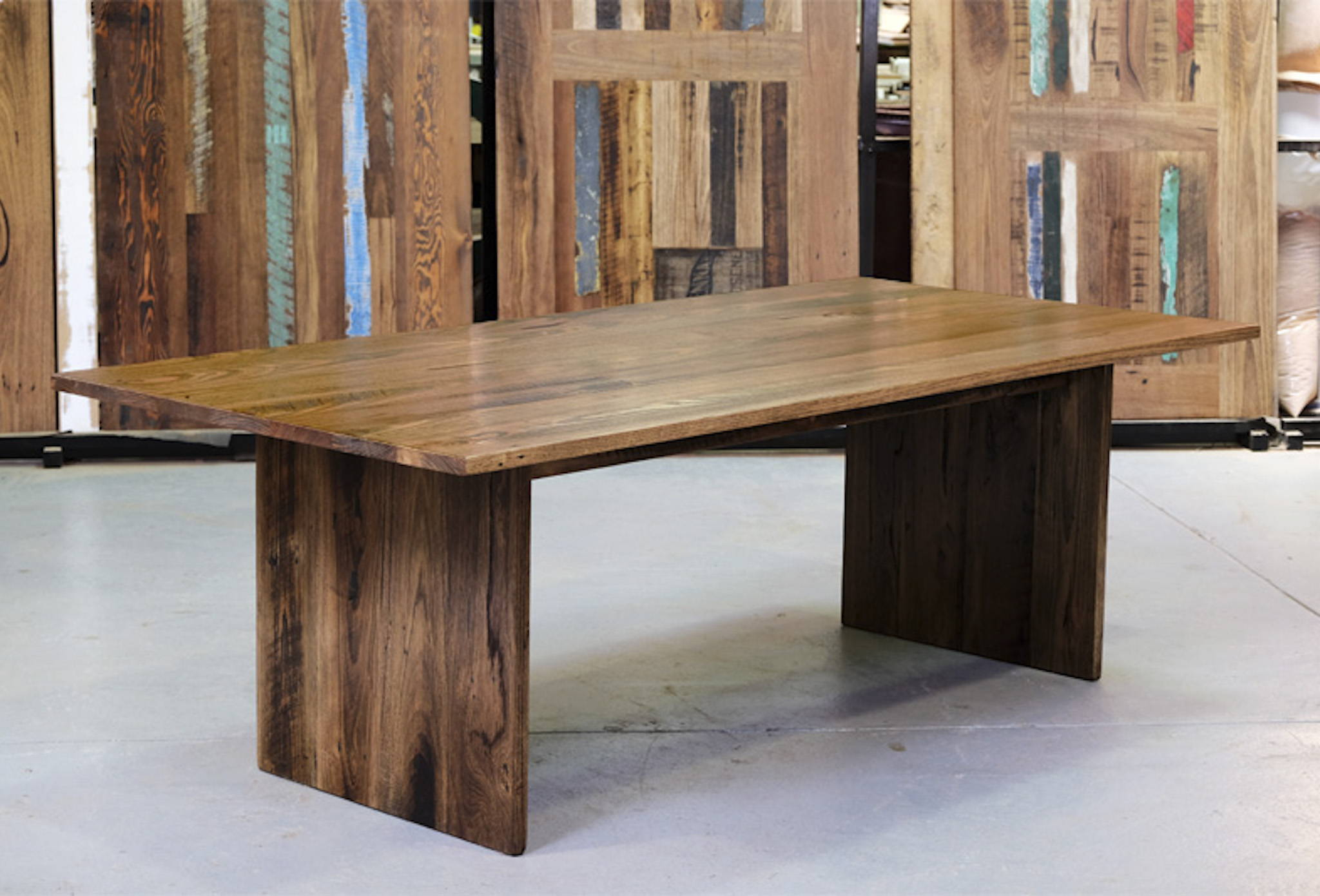Double Panel Timber Dining Table Stained