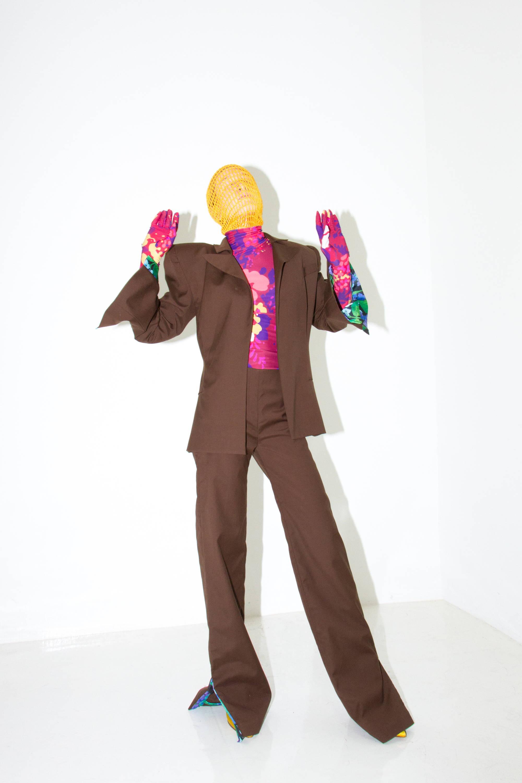 floral blazer/ bodysuit richard quinn h lorenzo womens story ss18