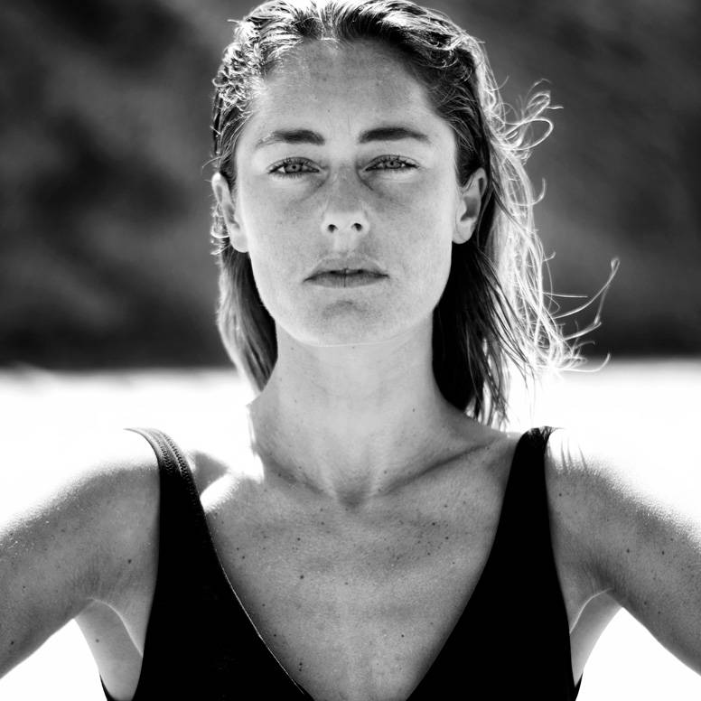 Portrait of Pro bodyboarder Joana Schenker on the beach for her interview