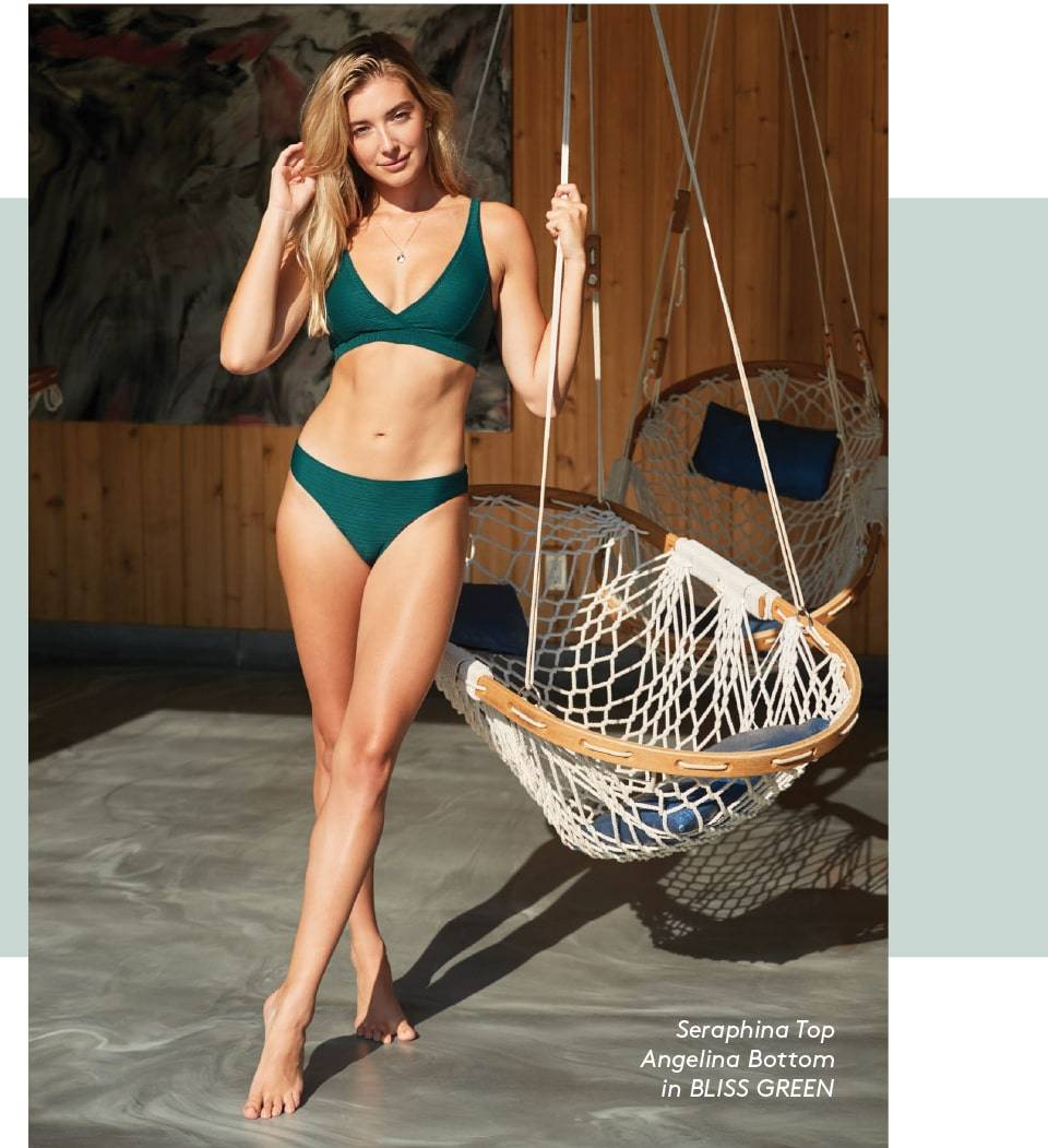 SKYE's Seraphina top and Angelina bottom in Bliss Green from the GEMS collection.