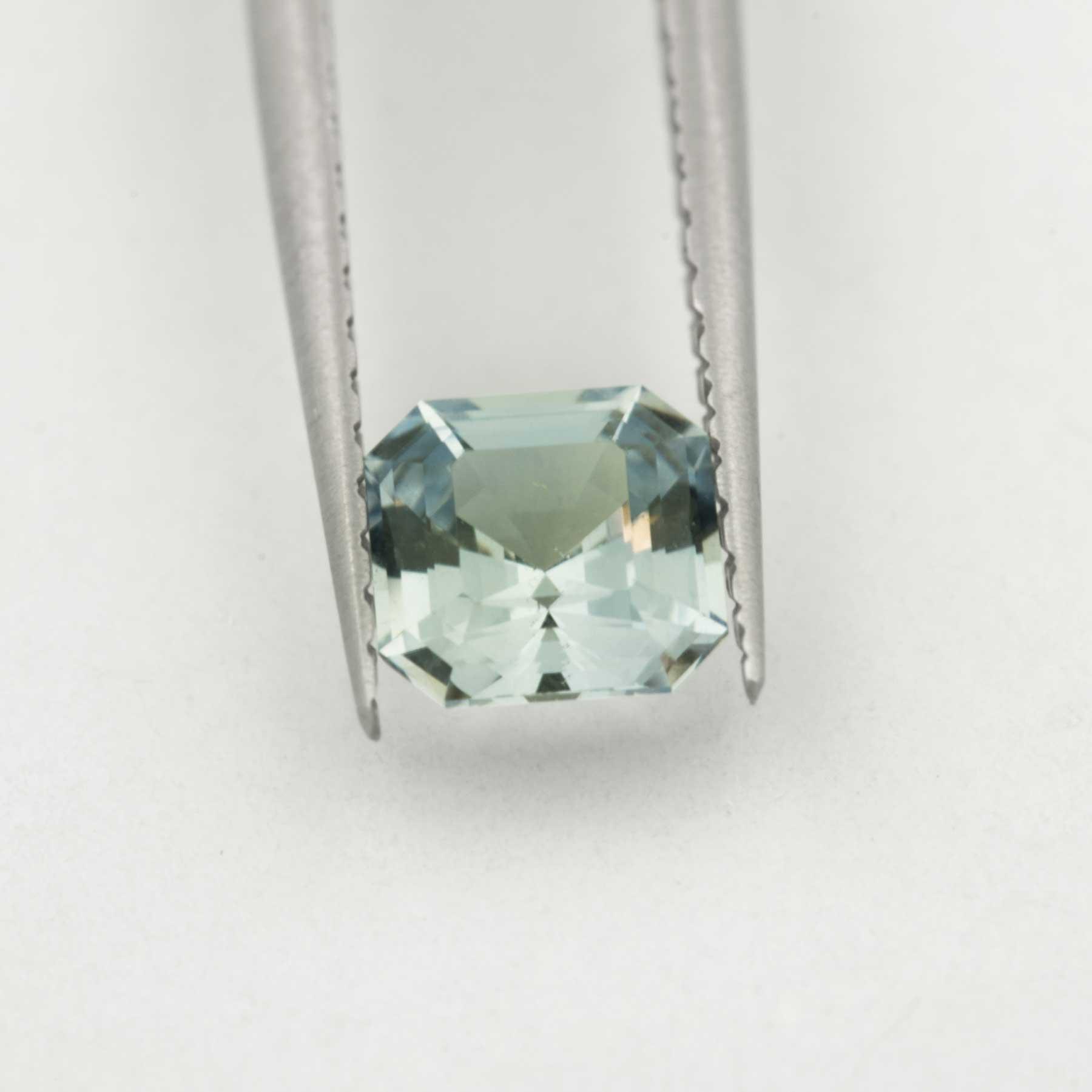 Unique Ethical ice blue asscher cut Montana Sapphire