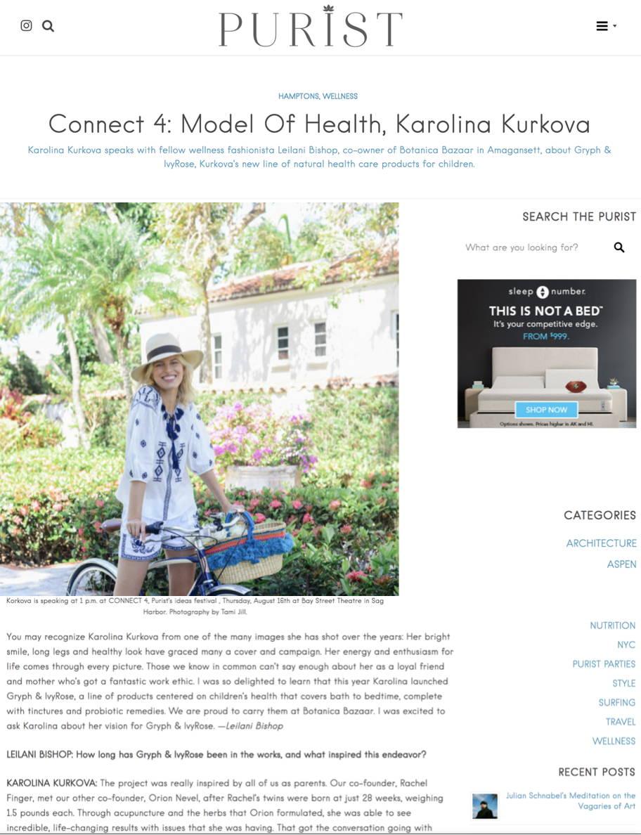 Karolina Kurkova model of health for Purist Magazine