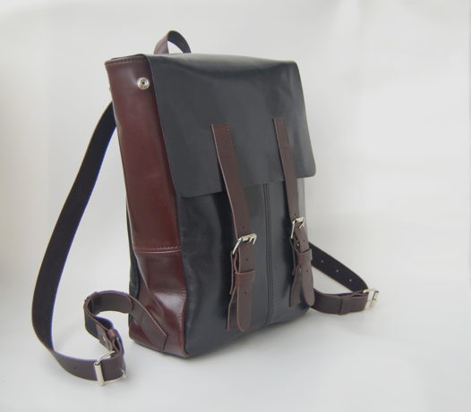 Кожаный черно-коричневый рюкзак Urban Coffee