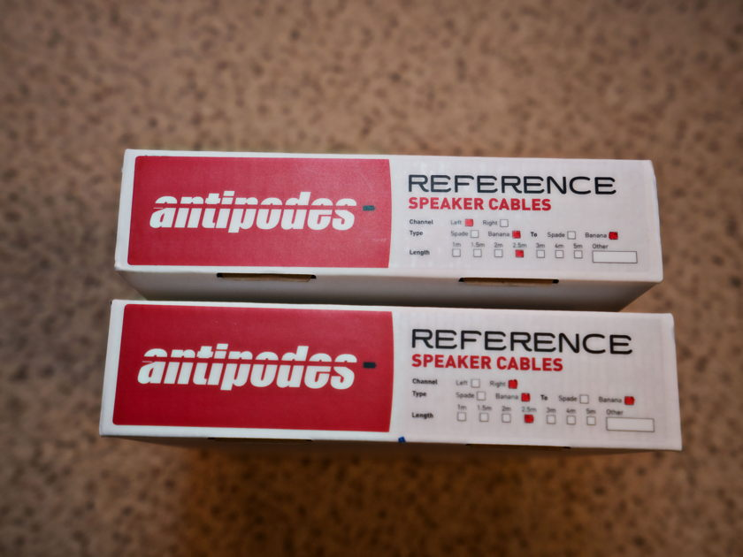 Antipodes Reference Speaker Cables, 2.5m,  bananas + spades