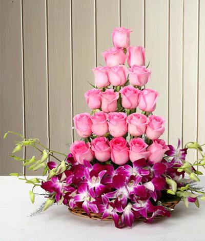 Bangalore Flowers Mix Pink Basket