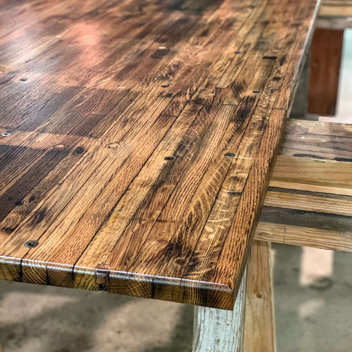 modern coffee table made with salvaged oak butcher block