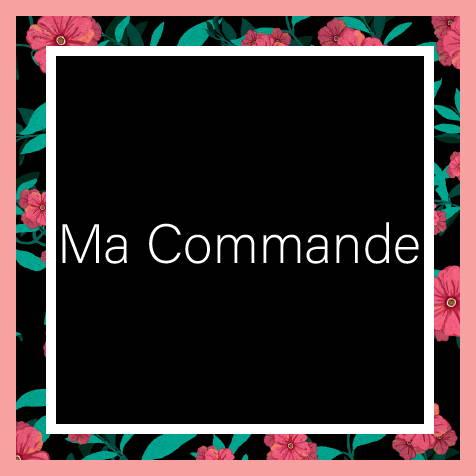 """Il est écrit """"Ma Commande"""" sur un fond noir et un contour de roses"""