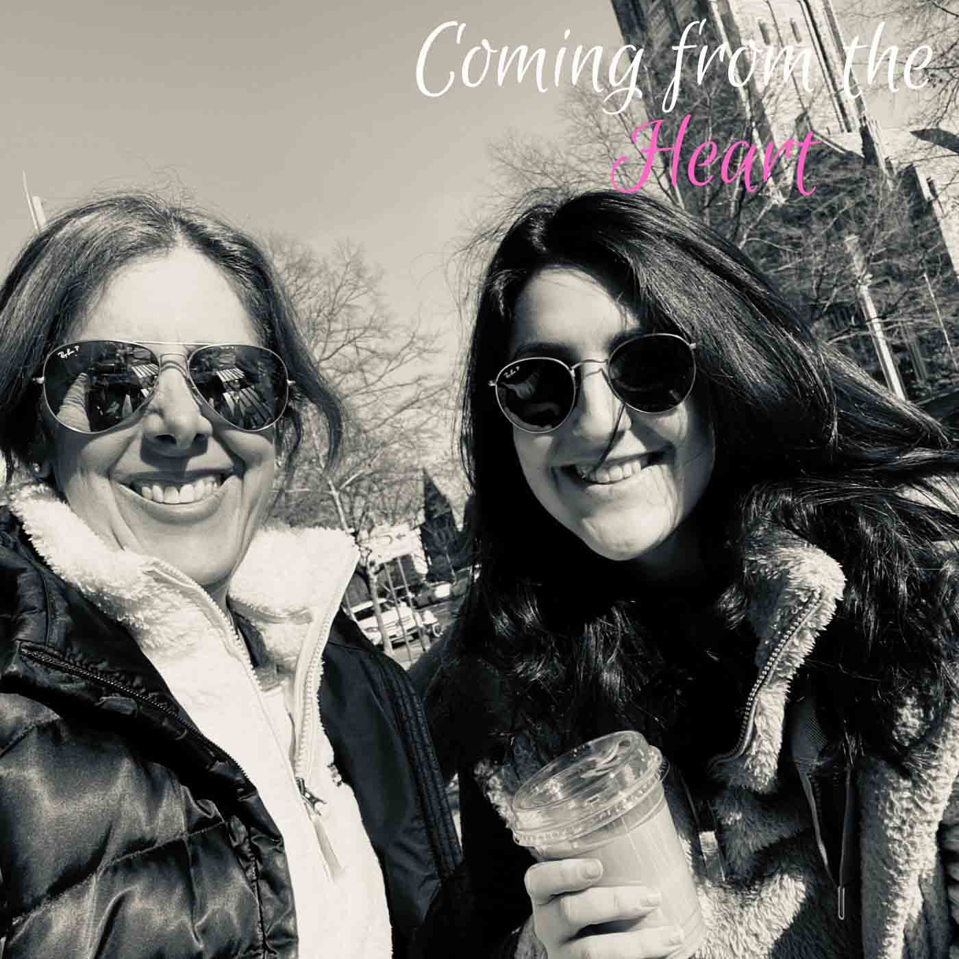 Mother-Daughter podcast hosts for Coming from the Heart podcast smile for the camera