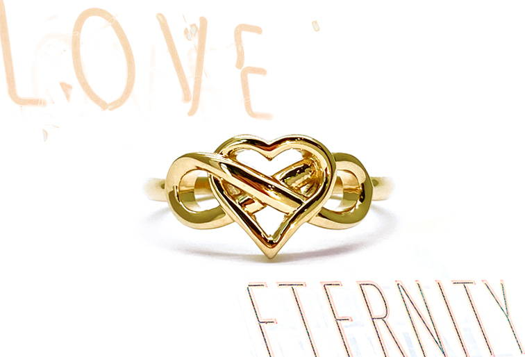 Gold ring for woman with the sign of love mixed with the sign of eternity