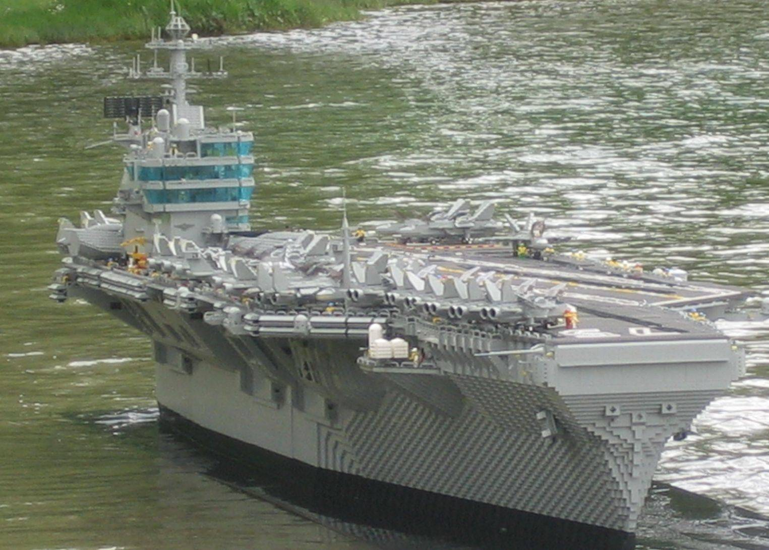 Aircraft carrier lego model in minifig size by Harry S. Truman