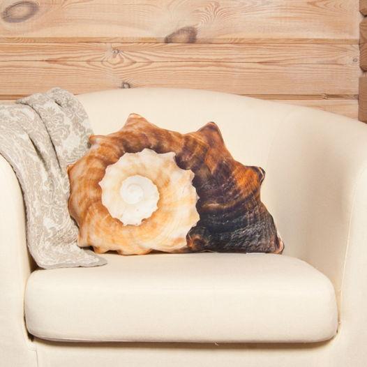 Морская раковина. Декоративная подушка из натуральной льняной ткани