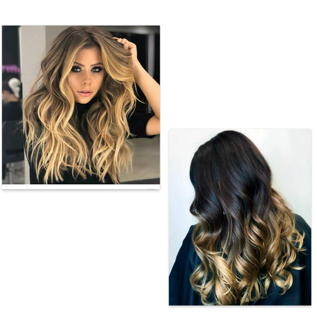 Ombre color on hair extensions