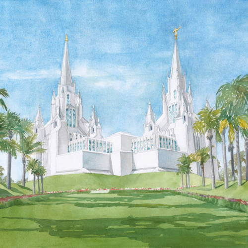 Painting of the San Diego Temple and green lawn.