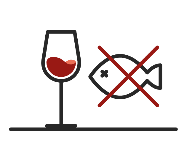Icon of a glass of red wine and crossed out fish proving that red wine can be paired with fish.