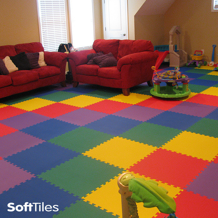 Wall To Wall Foam Mats! Rainbow Colored Playroom/Living Room Using  SoftTiles 2x2  D105