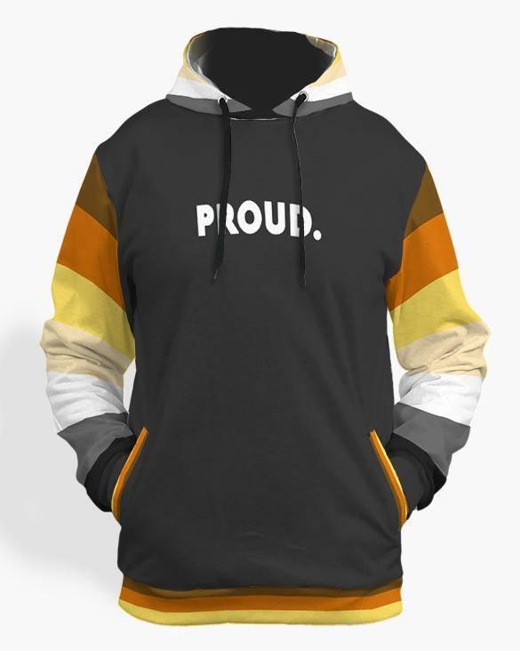 bear pride flag hoodie black