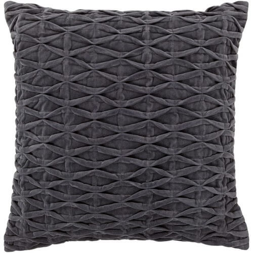 Chandra cotton and velvet pillow in grey