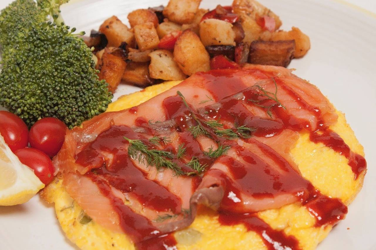 Salmon and 3 egg omelet with KPOP Sauce