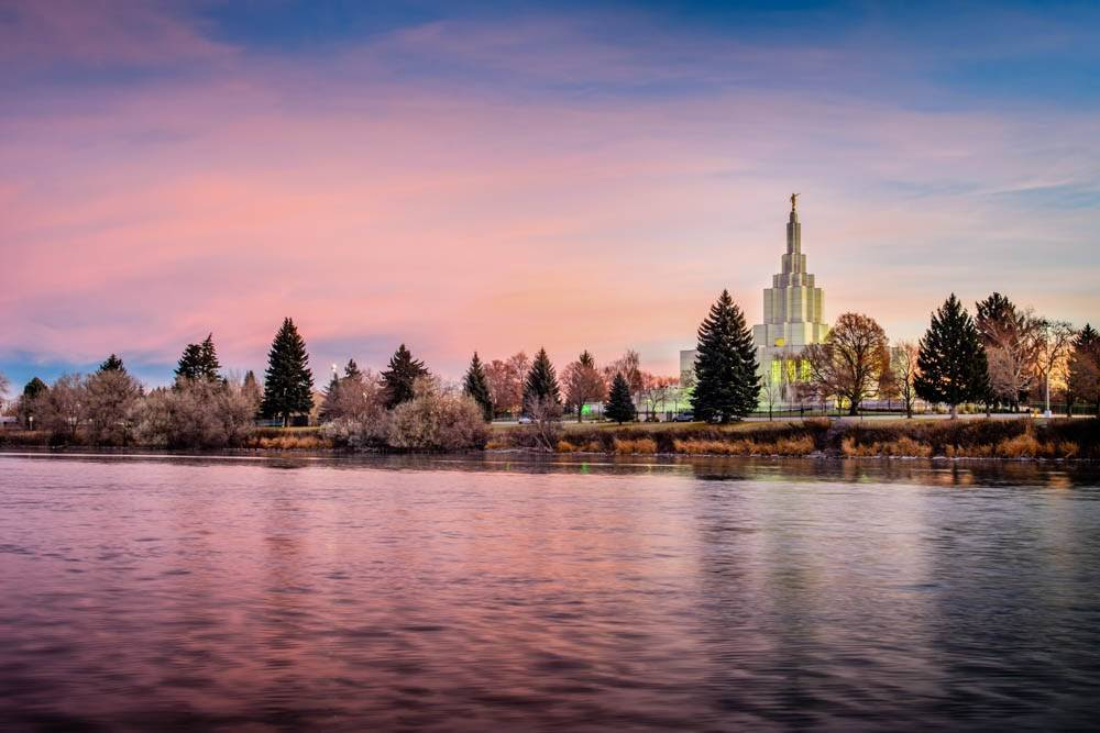 Photo of Idaho Falls Temple taken from across the Snake River.