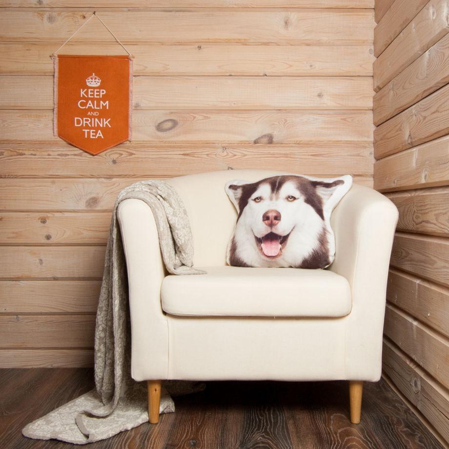 Собака. Подушка Хаски – льняная декоративная подушка в виде головы собаки