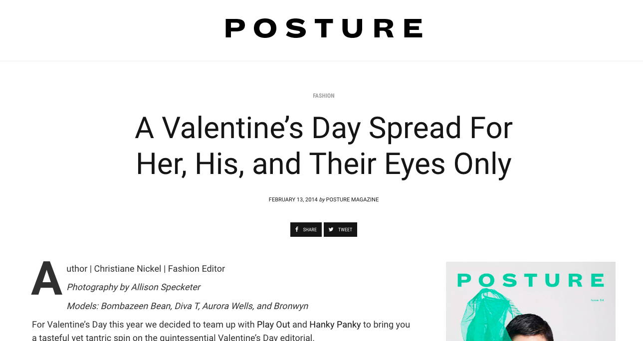 Posture Mag - features Play Out in A Valentine's Day Spread For Her, His, and Their Eyes Only
