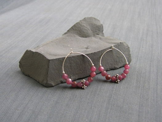 "Серьги-кольца ""Passionberry"" из серебра с рубеллитами"