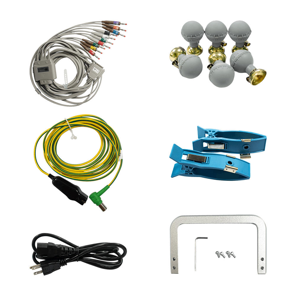 Accessories of iE 300 ECG machine, including limb electrodes, chest electrodes, lead wires, equipotential cable, handle set and a roll of thermal recording paper.