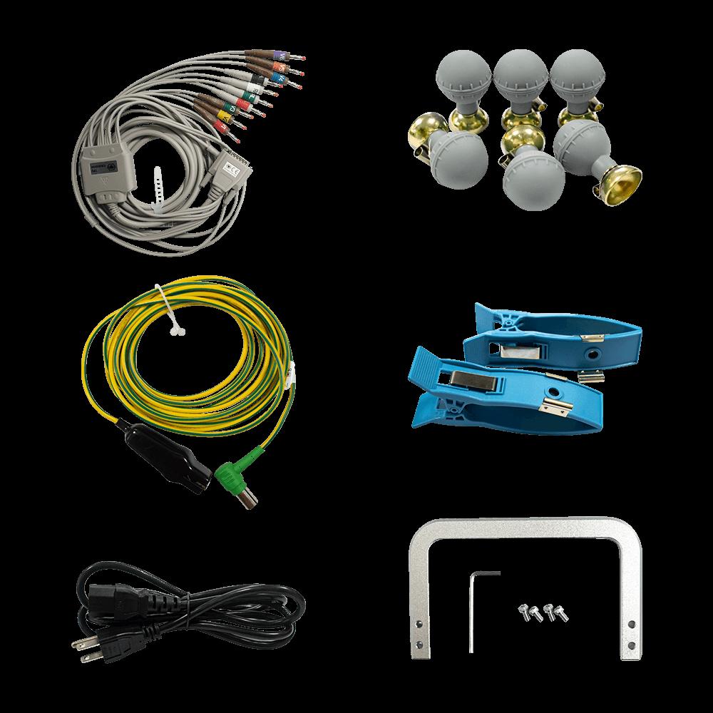 ملحقات جهاز تخطيط القلب IE 300 ، بما في ذلك أقطاب الأطراف ، وأقطاب الصدر ، وأسلاك الرصاص ، وكابل التجهيز ، ومجموعة المقبض ، ولفافة من ورق التسجيل الحراري.