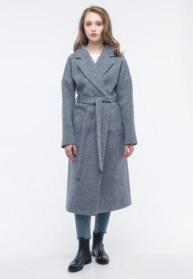 Пальто-халат синий твид