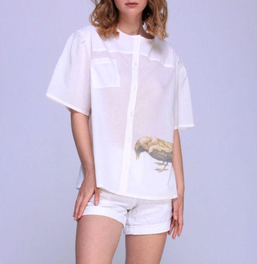 Женская блуза из хлопка с печатью
