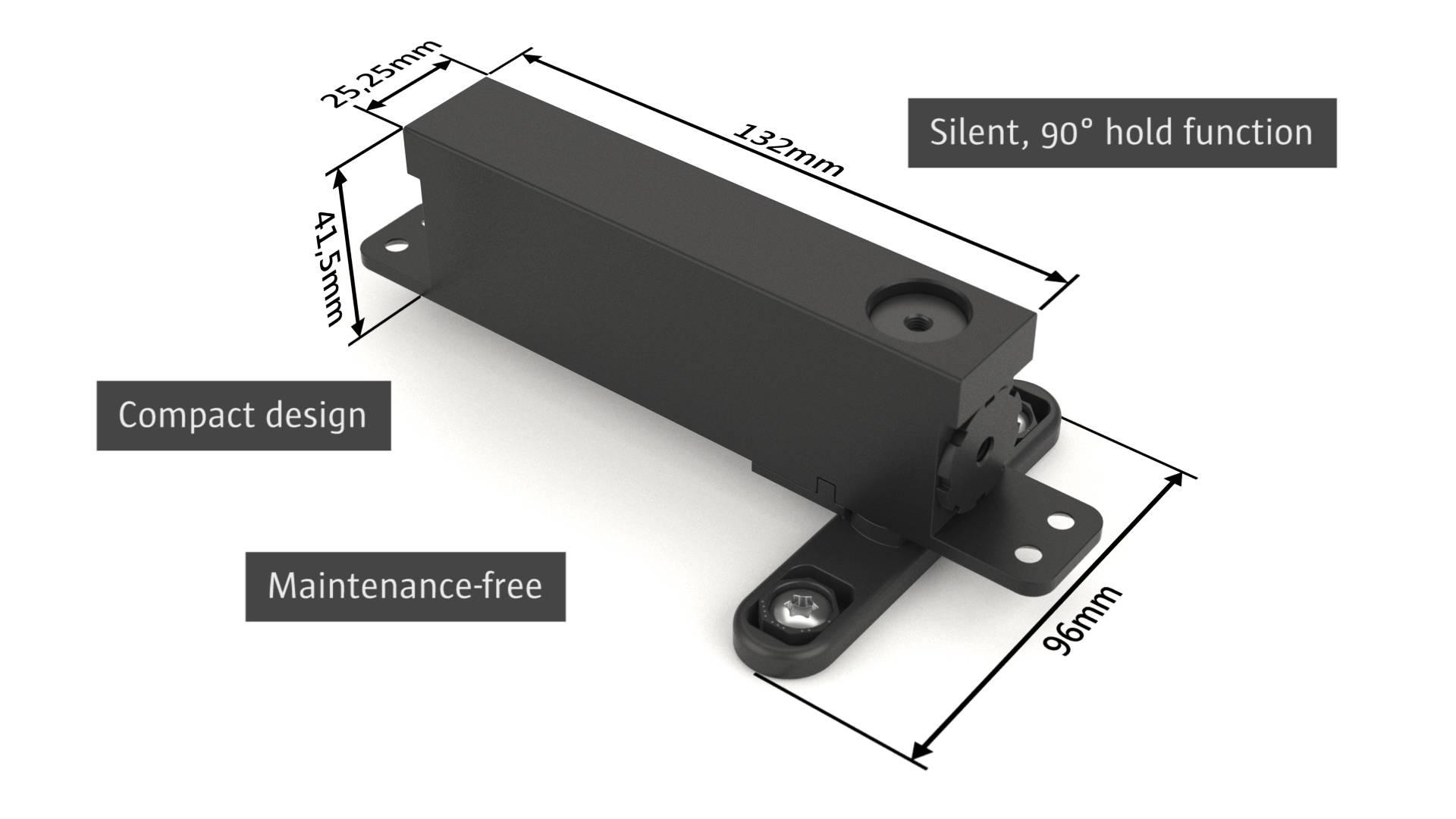 Stealth Pivot NL compact self-closing pivot hinge