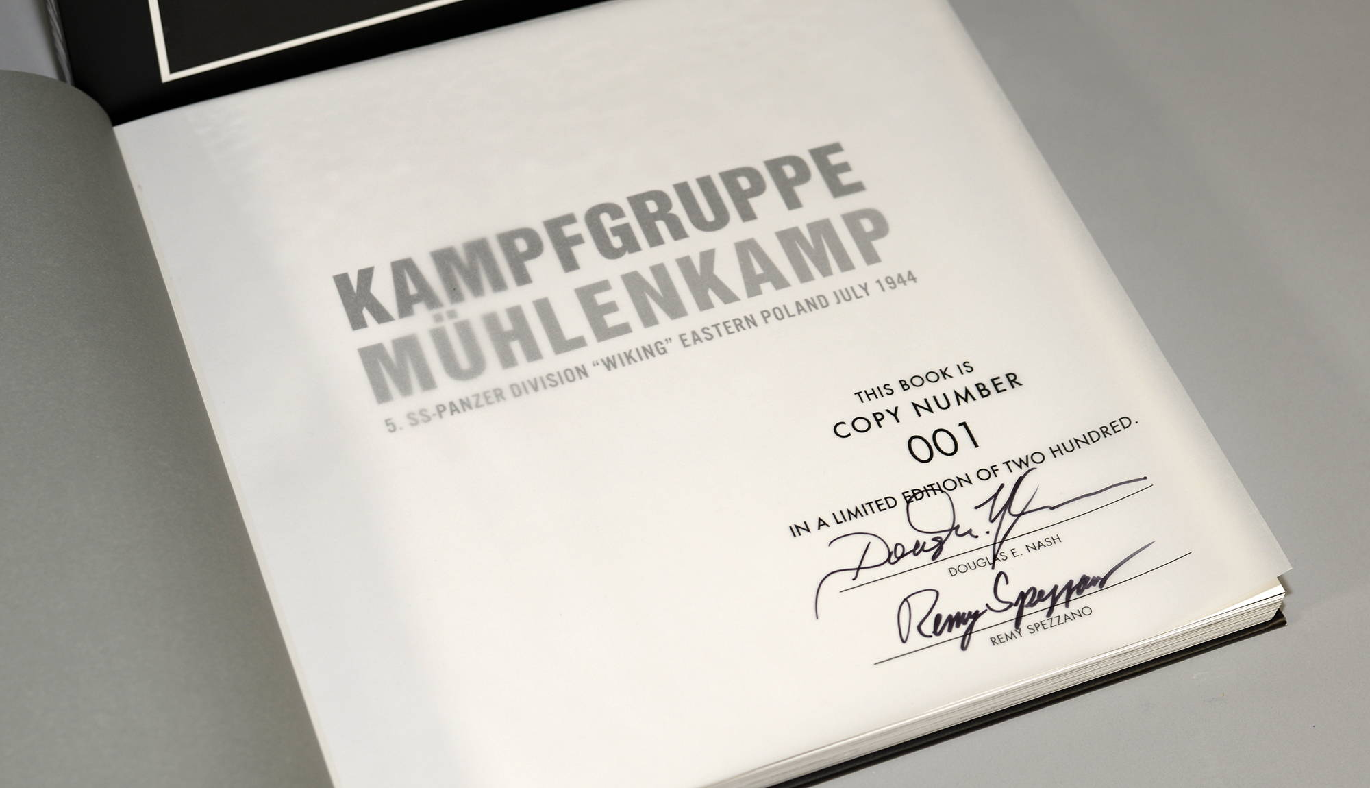 """Signature page in """"KAMPFGRUPPE MÜHLENKAMP Signed and Numbered Edition with slipcase"""""""