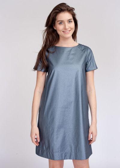 Джинсовое платье с блестящим напылением