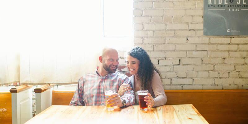 Fun, flirty engagement shoot … at a brewery!