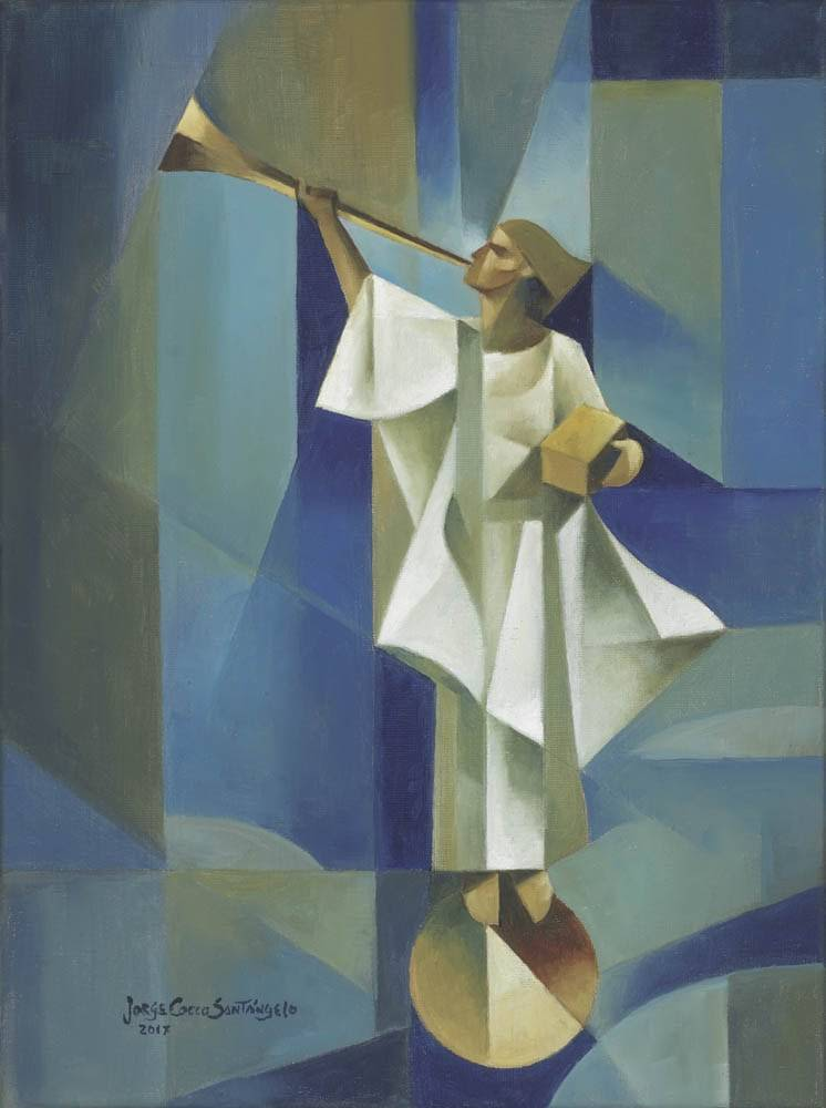 Modern lds painting of the angel Moroni statue.