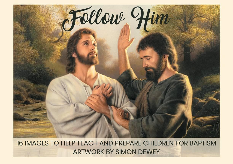 Cover of LDS art notecard pack. Displays John the Baptist baptizing Christ.