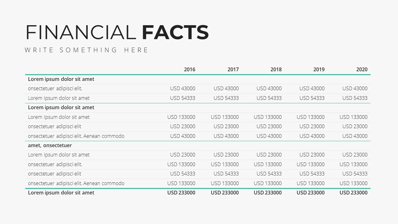 Minimal X  Company Profile Presentation Template Financial Projection